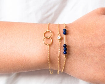 14k Gold Fill Bracelets, Interlocking Circle, CZ Bracelet And Thin Bar Bracelet Set, Layering Bracelets, Dainty Gold Bar, Gift for Her, Mom