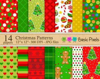 Christmas Digital Papers - Patterns - Backgrounds - Personal and commercial use