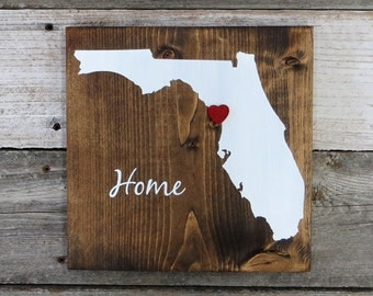 "All States Available, Rustic Hand Painted ""Home State"" Wood Sign, Florida State Home, Home State Pride - 9.25""x9.25"""