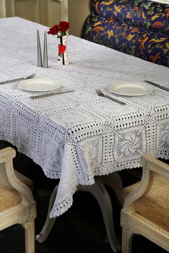 Items similar to handmade crochet tablecloth oroshi for Wedding table design tool