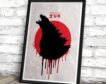 godzilla minimalist movie poster godzilla inspired movie print minimalist movie wall art decor - Godzilla Pictures To Print