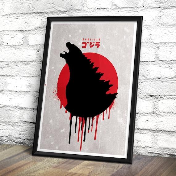 Godzilla Minimalist Movie Poster - Godzilla inspired movie print - Minimalist movie wall art decor