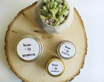 Lemon + Fig Soy Candle // Geo Supply Co. Soy Candle // Tin Soy Candle // Travel Tin Candle // Geo Supply Co.