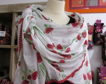 french scarf, printed poppies,white cotton