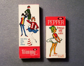 Playscale Tammy & Pepper Doll Box Set - 1:6 scale accessory for Doll Dioramas  Miniature  doll box replicas 1960s Tammy Barbie doll diorama