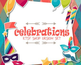 Funny Colorful Celebrations Full Esty Shop Design Banner Set With Shop Icon