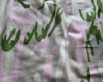 Girly Army Print Lightweight Cotton Fabric by the Metre, stretchy cotton fabric, printed washable cotton fabric