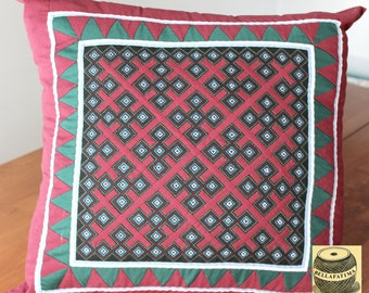 Handmade Hmong Pillow Cover. Cut Work Applique. Unique, Beautiful Stitching, Stunning