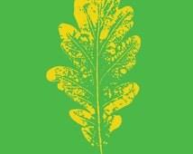 Modern leaf digital print, Pop art oak leaf art print, instant download printable art, lime green art print, teen art, modern, abstract
