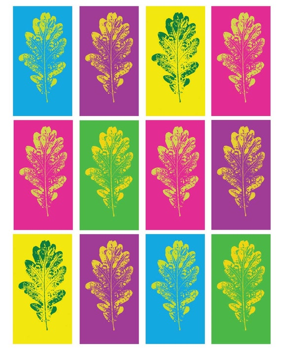 Pop art oak leaf art poster