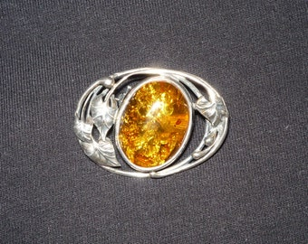 Amber and Silver Pin