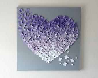 "30"" x 30"" Ombre Butterfly Wall Art in Soft Purples and Soft Grey - Nursery Decor - Baby Shower - Statement Piece - Nursery Art - Wall Art"