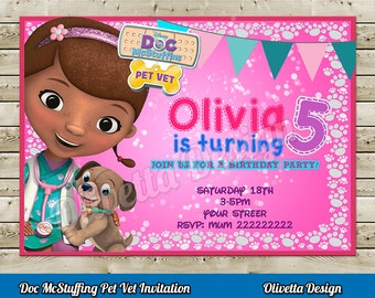 Doc McStuffins Pet Vet Invitation for Birthday Party - Digital File