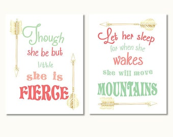 let her sleep for when she wakes, she will move mountains, though she be but little, mint gold and coral girl nursery print set printable