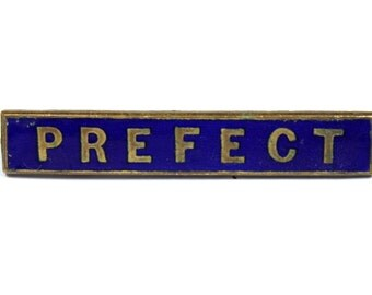 Vintage 1950s Prefect pin, prefect badge, blue enamel school badge, school uniform, goldtone pin, dark blue enamel, Thomas Fattorini