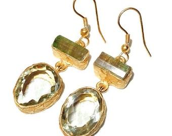 Gold-plated Green Amethyst & Tourmaline Earrings