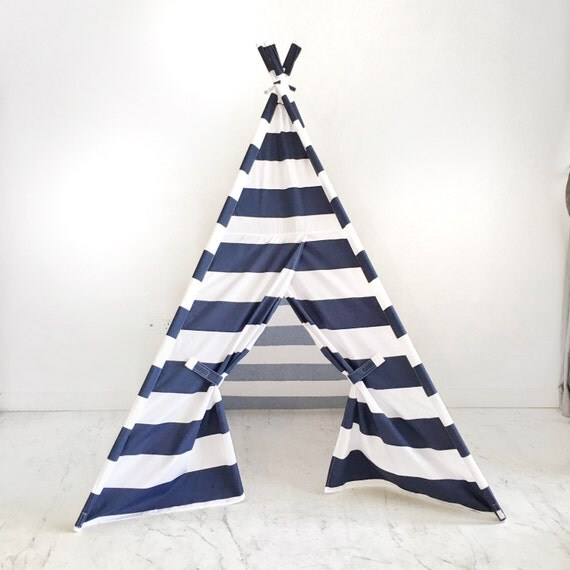 Kids Play Tent Teepee Handmade in Navy Blue White Stripe Designer Cotton Fabric.