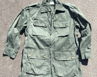 French hbt mililtary field jacket zip front