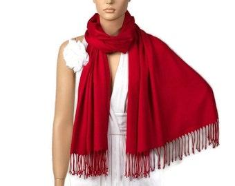Red Shawl, Wedding Shawl, Red Pashmina, Bridesmaid Shawl, Bridesmaid Gift, Bridal Accessories, Wedding Wrap, Solid Color Scarf,Wedding Scarf