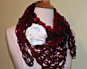 On Sale- Red Shawl Triangle Shawl Scarf Irish Boho Crochet Lace Bridal Wedding Wrap Scarf