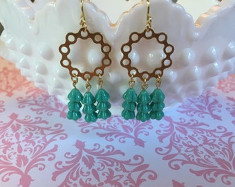 Mint and gold chandelier earrings