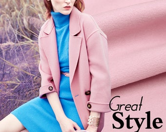 New Arrival Thick Sweet Pink Woolen Fabric for Fall and Winter Overcoat Coat Jacket
