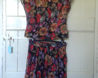 Vintage Floaty Floral Skirt and Blouse Two Peice Set