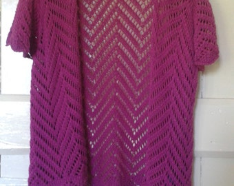 Fuschia Crochet Bolera Size Medium