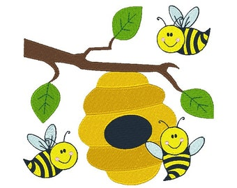Busy Bees Machine Embroidery Design 012315 Honey Bee Design Filled Stitch 4X4 5X7 8X8 6X10 Instant download