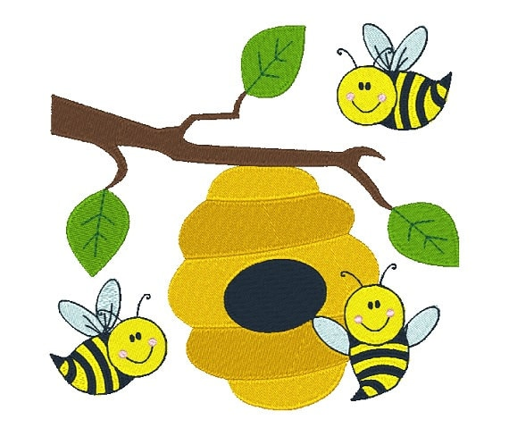 Busy bees machine embroidery design honey bee