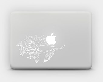 Transparent White Ink Decal Sticker for MacBook or Laptop - Rose