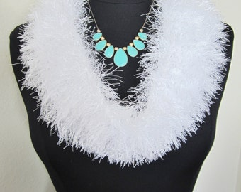 Womens Scarf White Fun Fur-hand knit with no right or wrong side pattern.Will accent your attire no matter if its formal or casual. Elegant!