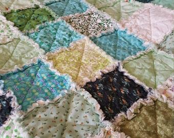 Greens, Lime, Aquas, and Mint Scrappy Rag Quilt, Picnic Quilt Throw, Rag Quilt, Medium Throw