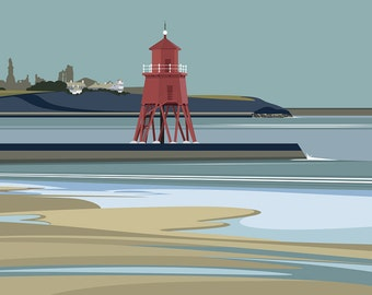 A3 LTD EDITION PRINT. Uk South Shields Minimal contemporary archival art print, inspired modernist design - By Ian Mitchell