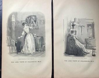 Pair Antique Halloween Steel Engravings ca.1849