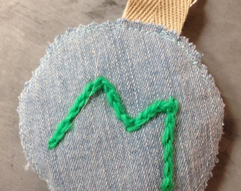 Personalised Denim Tag, Letter M keyring, Boys Bag label, Embroidered initial keyring, Soft fabric keyfob, Eco friendly gift, Back to school