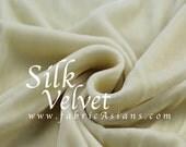 """Ivory Silk Velvet. Cream Silk Fabric. Velvet Fabric. 0.55yds by 42"""". SV100789"""