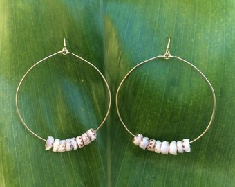 Hawaiian puka shell hoop earrings
