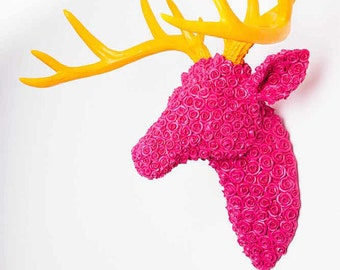Stags head in retro pink