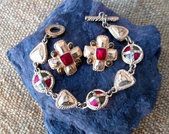 Renaissance revival, medieval style Jacques Esterel bracelet and earring set, enamel and gold tone, designer Paris chic
