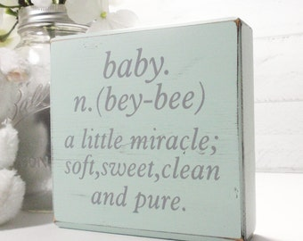 Baby Definition- Wood Block Baby/Nursery/Kids Room Decor-Baby Gift-Shower Gift-Birthday Gift-Country Decor