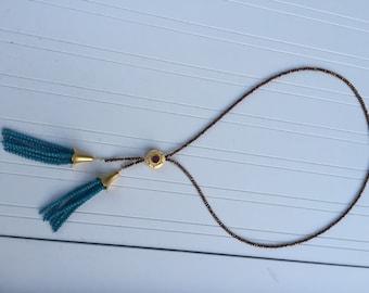 SALE Beaded tassel necklace
