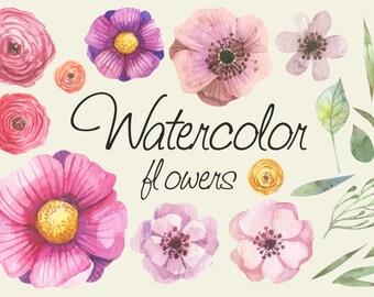Digital watercolor flowers set / flowers pack instant download