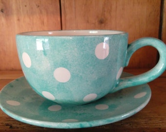 Hand Painted Polka Dot Design Expresso Cup, Tea Cup or Breakfast Cup and Saucer Set. Various Colours, Matching Kitchenware Available