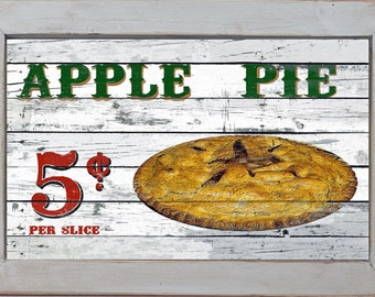 Vintage Style Country Diner Kitchen Primitive Home Decor Fruit Apple Pie Apples Wall Sign
