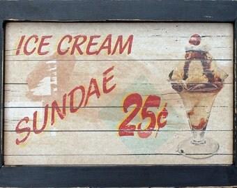 intage Style Diner Kitchen Dessert Ice Cream Sundae Cherry Wall Art