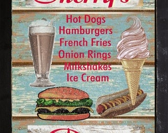 Personalized Vintage Style Home Decor 50's Diner Cafe Kitchen Ice Cream Cheeseburger Menu Wall Art