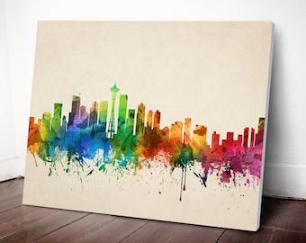 Seattle Skyline Canvas Print, Seattle Cityscape, Seattle Art Print, Home Decor, Gift Idea, USWASE05C