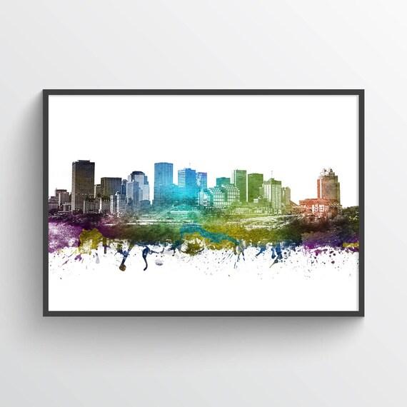 Edmonton Skyline Poster, Edmonton Cityscape, Edmonton Print, Edmonton ...