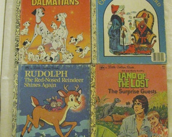 Four Little Golen Books: 101 Dalmatians, Rudolph Shines Again, Old Mother Hubbard, and The Land of the Lost.